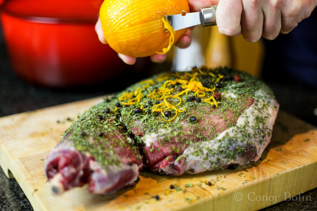 ... legal venison rubbed with berries herbs and spice, ready for the pot