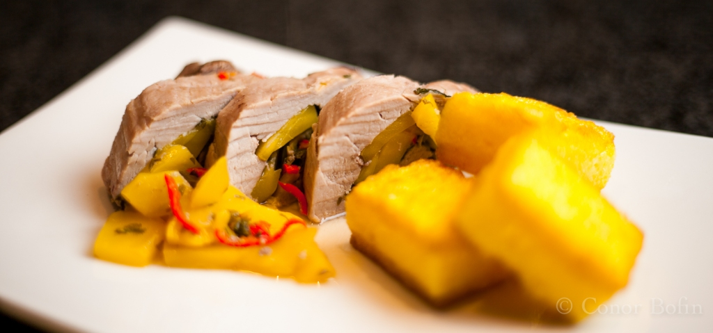 Pork steak with mango