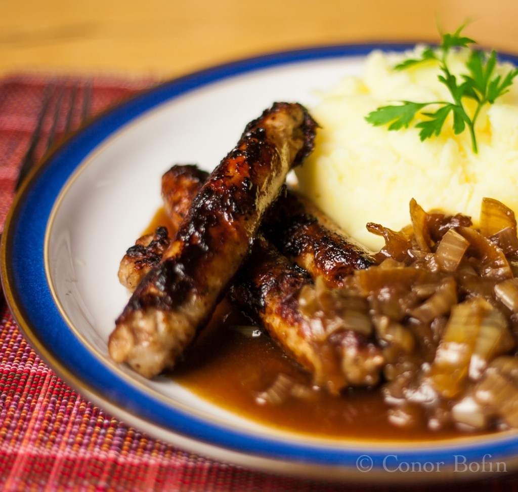 Sausages, mash and onion gravy