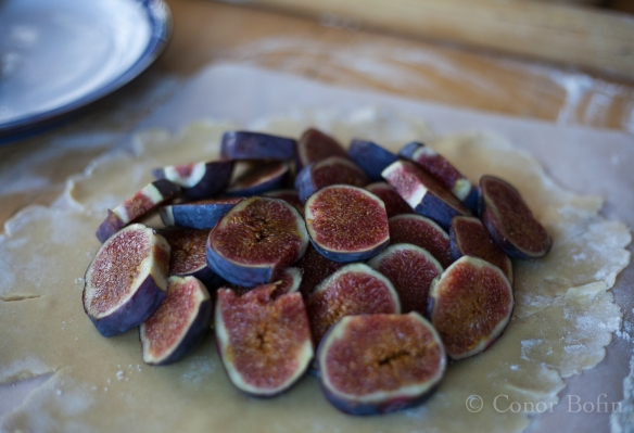 A big pile of figs, higher in the centre.